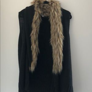 BB Dakota Black Fur Sweater Vest